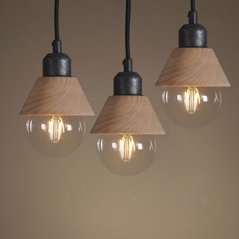 Wooden Mini Pendant Light Pack of 3