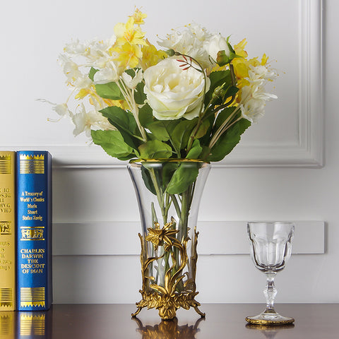 Gilt Bronze Crystal Flower Vase Centerpiece -  westmenlights