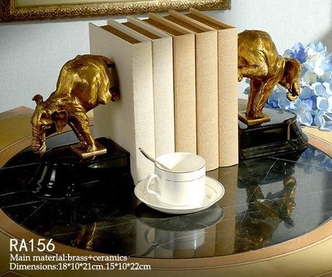 Ormolu Mouted Bull Bookends -  westmenlights