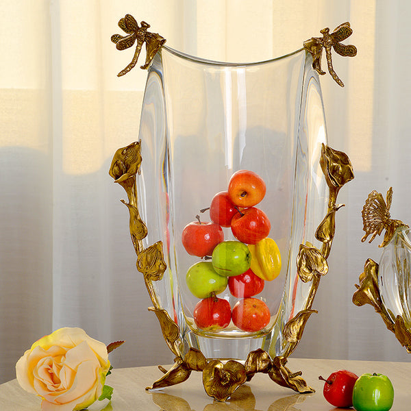 Ormolu Mounted Crystal Flower Vase as Fruits Vase