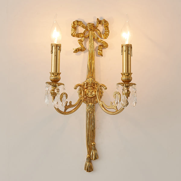 gilt bronze bow double sconce -  westmenlights
