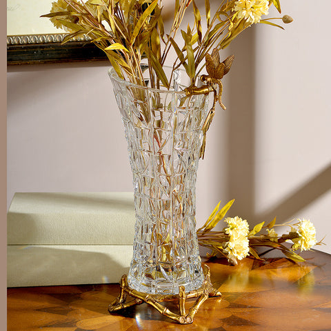Gilt Bronze Crystal Vase with Butterfly Standing