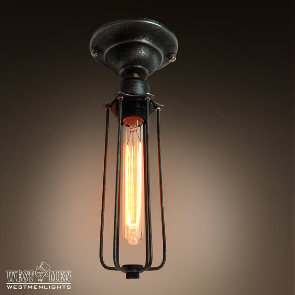Cylinder 1 Light Cage Mini Ceiling Lighting -  westmenlights