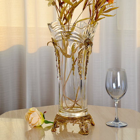 Ormolu Crystal Flower Vase Centerpiece -  westmenlights