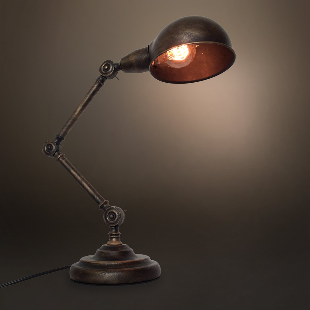 Swing arm 1 light vintage golden table lamp for Industrial design table lamps
