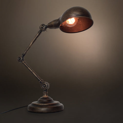 Swing Arm 1 Light Vintage Golden Table Lamp