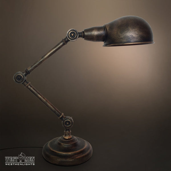 Swing Arm 1 Light Vintage Golden Table Lamp -  westmenlights