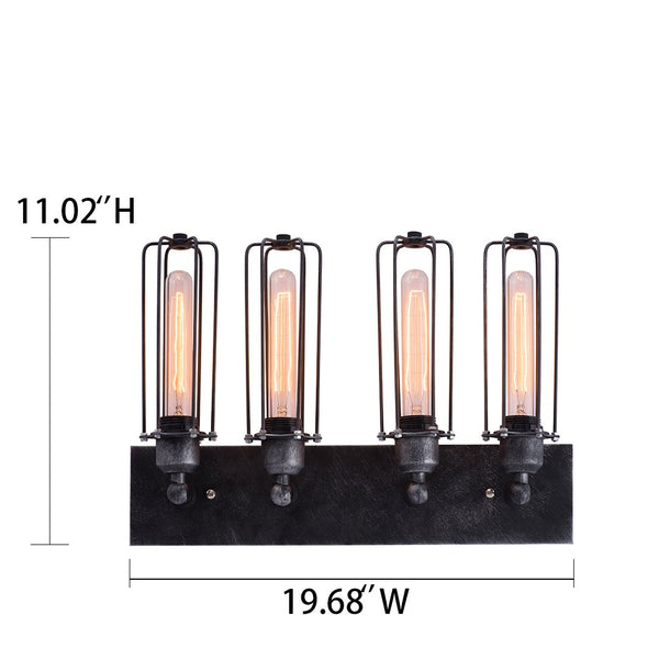 Cylinder 4 Lights Cage Vanity Lighting Sconce -  westmenlights