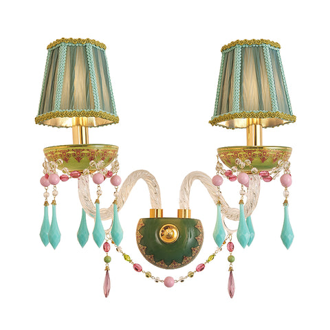 crystal wall sconce with green lampshades -  westmenlights