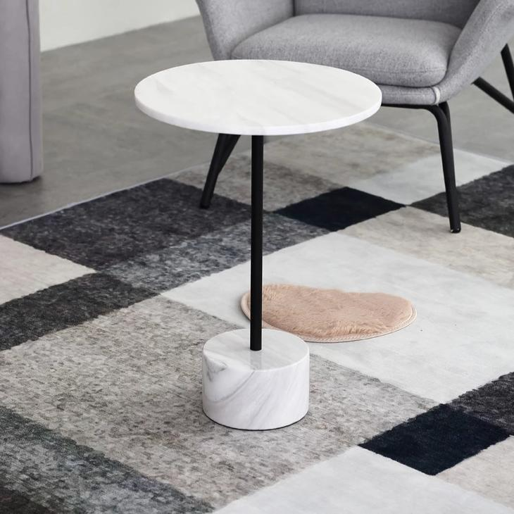 Nature White & Black Marble End Table -  westmenlights