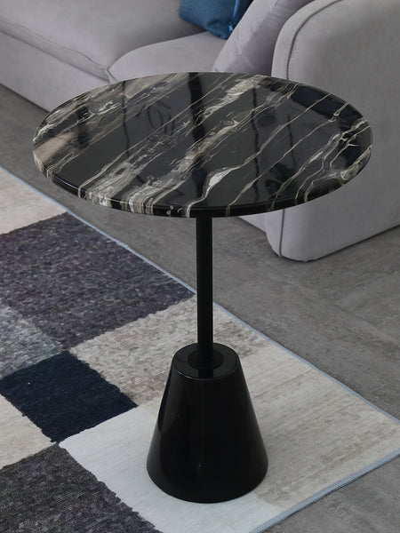 Cone Nature White & Black Marble Side Table -  westmenlights