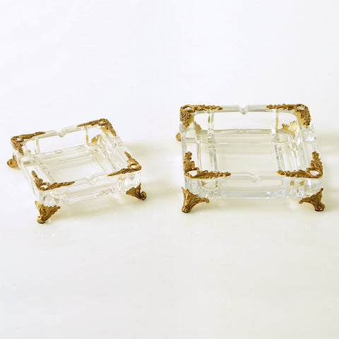 Gilt Bronze Crystal Ashtray -  westmenlights