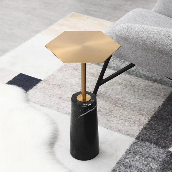 Mini Nature Marble Side Table with Hexagon Cover -  westmenlights