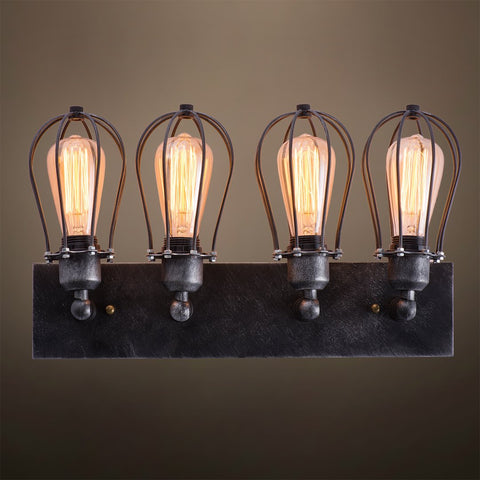 Globe 4 Lights Metal Cage Vanity Sconce