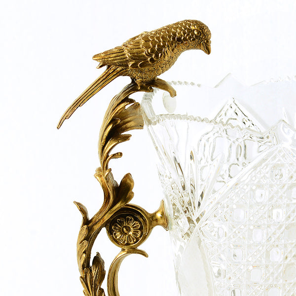 Gilt Bronze Crystal Flower Vase with Bird Standing -  westmenlights