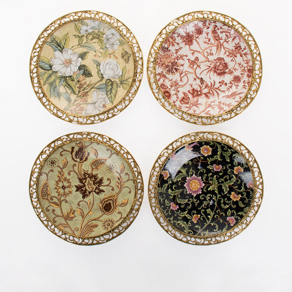 American European Classical Home Furnishing Accessories Living Room Soft Decoration Wall Decoration Wall Decoration Hand-painted Ceramics With Copper Decoration Hanging Plate Hanging Plate