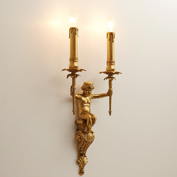 gilt bronze angel double bulb sconce -  westmenlights