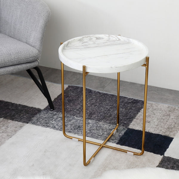 Nature White/Black Marble Side Table with Metal Base