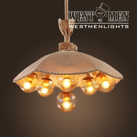 Westmenlights Rope Lotus Seeded Pod linen Hanging Light