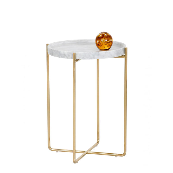 Nature White/Black Marble Side Table with Metal Base -  westmenlights