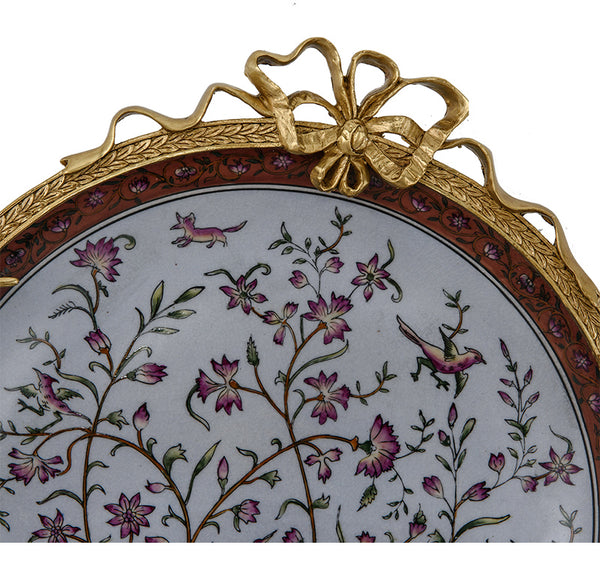 Decorative copper plate home living room wall decoration plate pendant European-style ceramic inlaid copper wall decoration villa high-end hanging plate