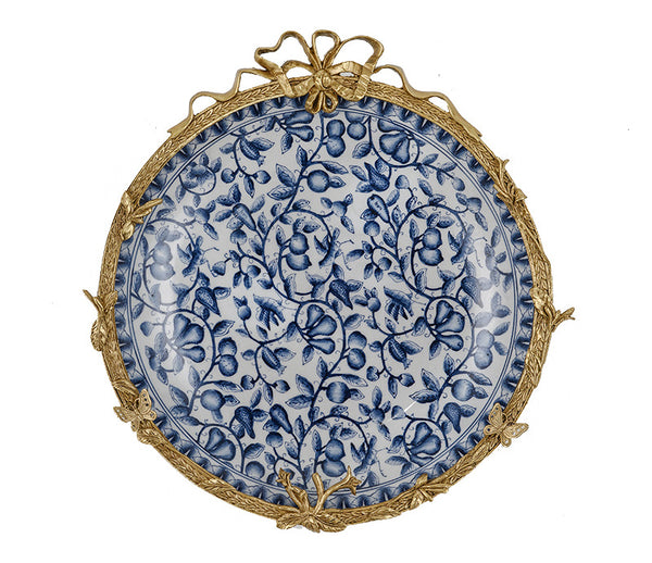 American blue and white retro hand-painted ceramic hanging plate decoration European style living room wall model room crafts wall pendant