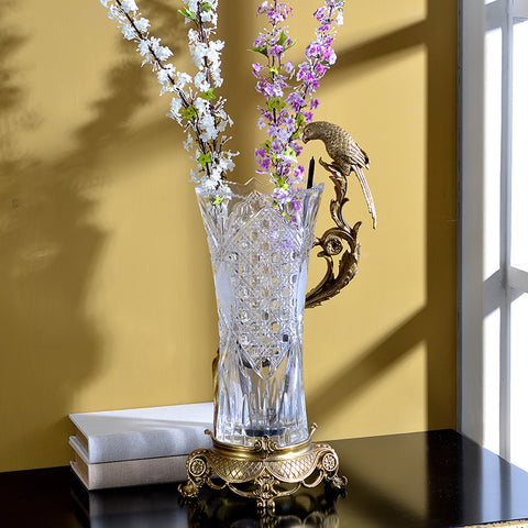 Gilt Bronze Crystal Flower Vase with Bird Standing