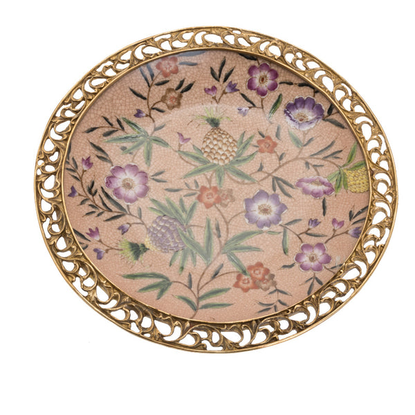 Copper Clad Porcelain Hanging Plate Pendant European American French Retro Ceramics with Copper Porcelain Plate Hanging Wall Decoration Wall Hanging Plate