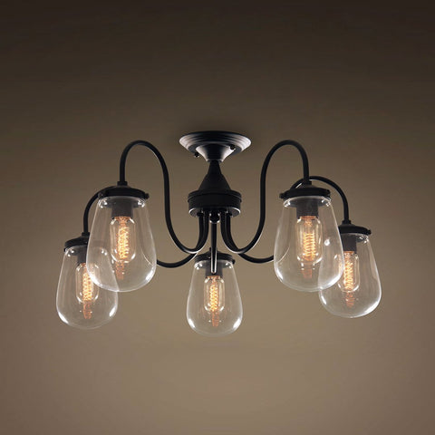 Globe 5 Lights Semi Flush Mount Glass Ceiling Light