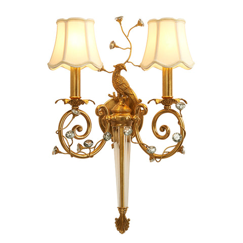 gilt bronze peacock sconce with fabric lampshades -  westmenlights