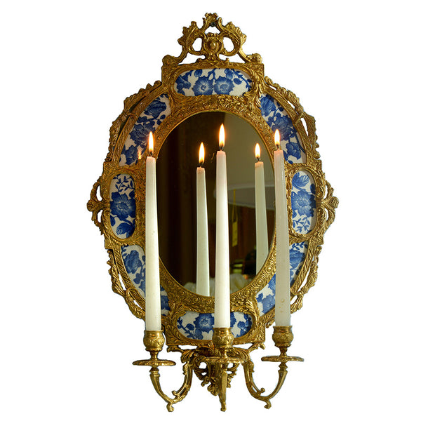 European-style ceramics with copper oval hanging mirrors, candlesticks, wall decorations, American villa home accessories, pure copper pendants