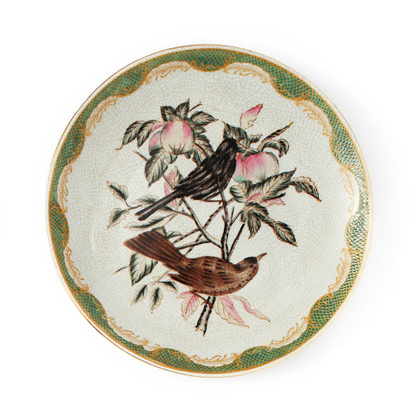 American pastoral flower and bird tray, ceramic wall decoration, pendant, European-style crafts, home accessories, hanging tray