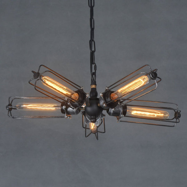 Cylinder 5 Lights Cage Semi Flush Mount Chandelier -  westmenlights