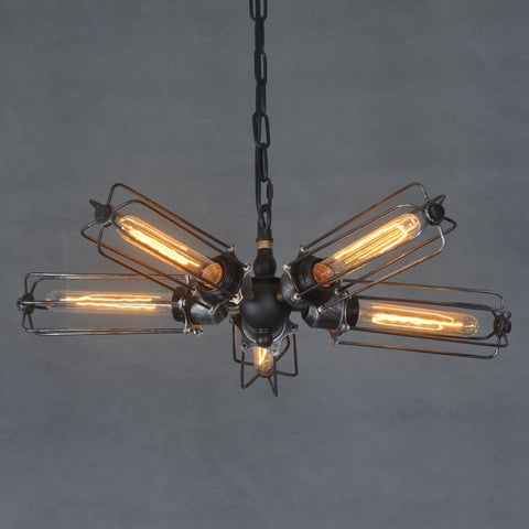 Cylinder 5 Lights Cage Semi Flush Mount Chandelier
