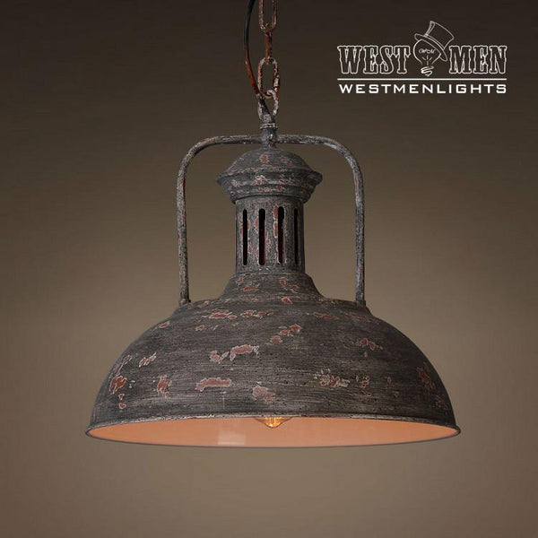 Pendant Lighting By Rustic State Authentic Vintage Lights: Dome 1 Light Mix Brown Color Pendant Light