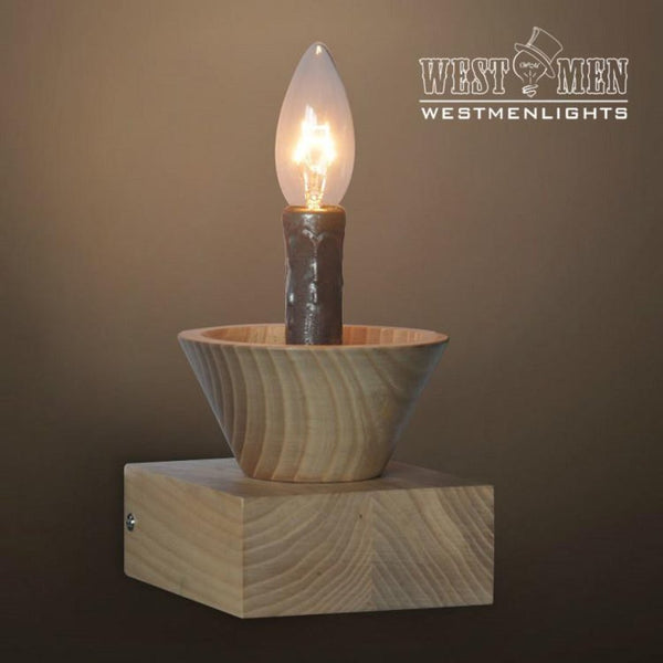 Vintage Wooden Candle Sconce -  westmenlights