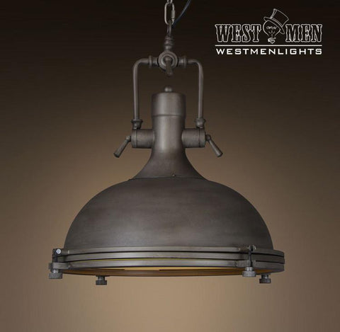 Large Dome 1 Light Brown Pendant Light