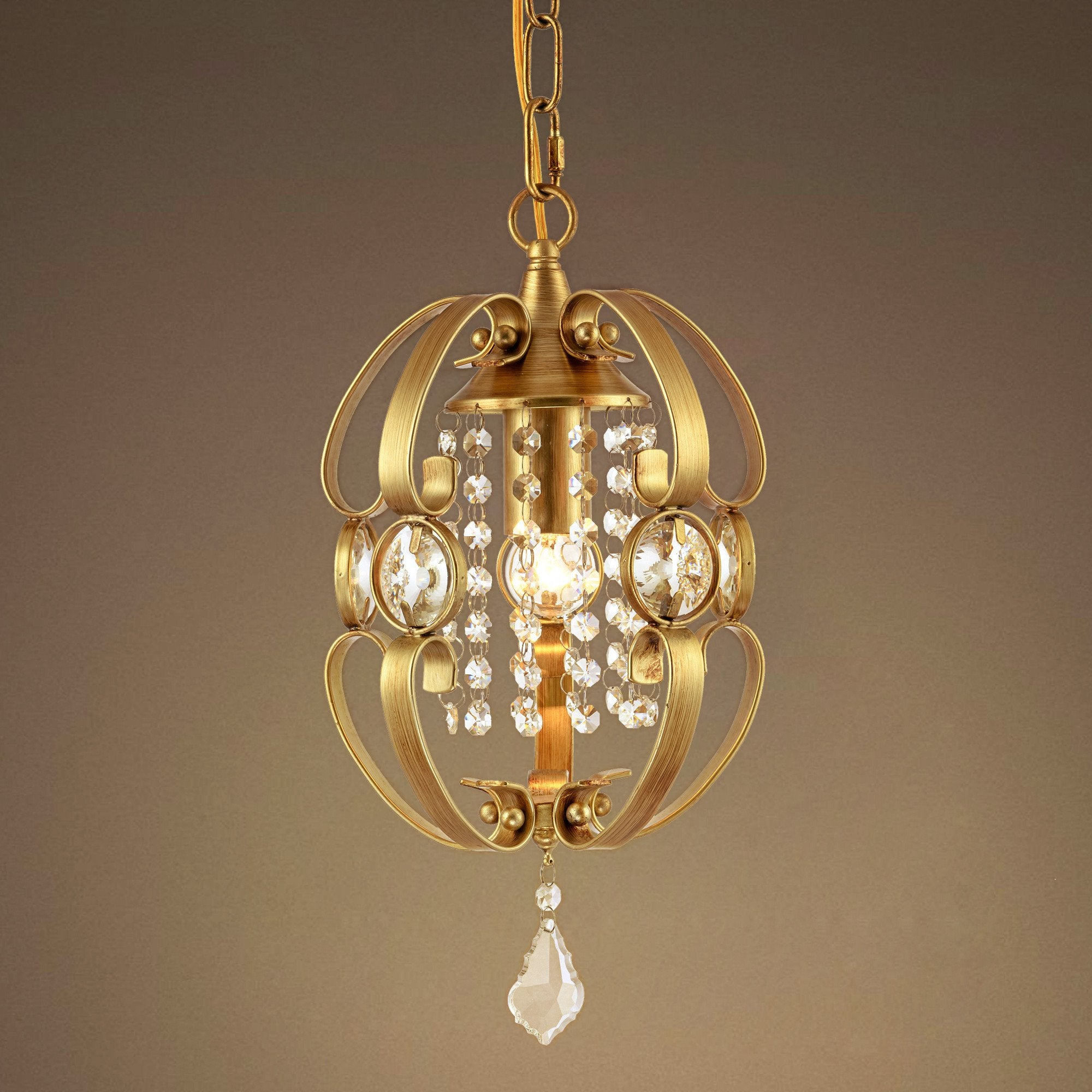 GOLDEN Globe 1 Light Candle Crystal Pendant Light
