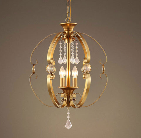 GOLDEN Globe 3 Light Candle Crystal Pendant Light | Coupon:Golden99