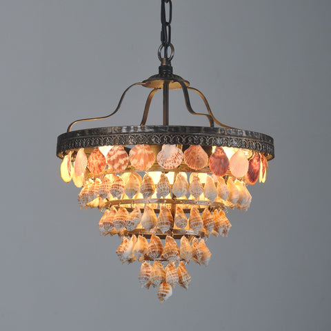 CAPIZ 3 lights pendant light,5 tiers,trumpet shell | Coupon:Shell99