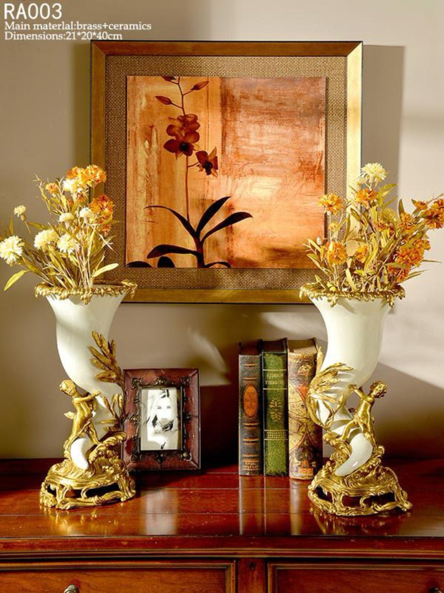Handmade Luxurious Porcelain Brass Vase Centerpiece