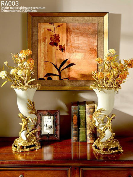 Handmade Luxurious Porcelain Brass Vase Centerpiece -  westmenlights