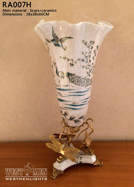 Ormolu Mounted Porcelain Flower Vase Centerpiece -  westmenlights