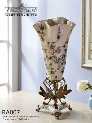 Porcelain Flower Vase Centerpiece with Gilded Dior Ormolu Trim
