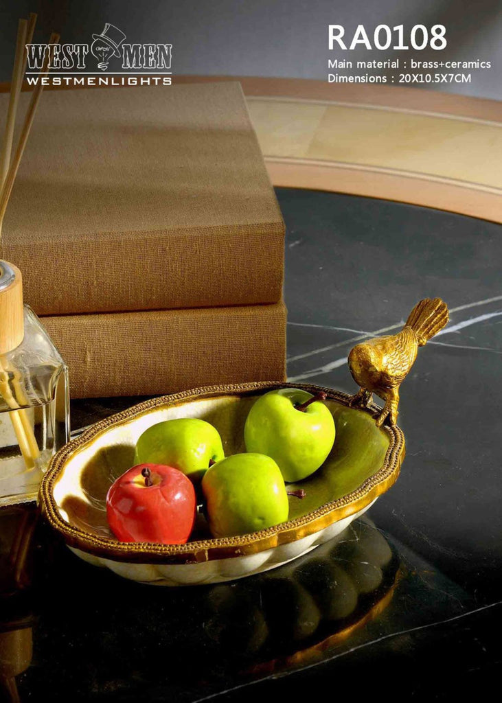 Bronze Bird Standing Fruit Porcelain Dish -  westmenlights