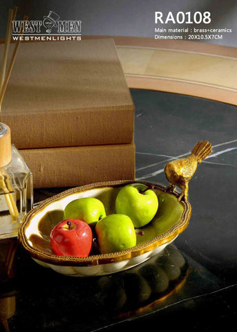 Bronze Bird Standing Fruit Porcelain Dish