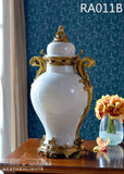 Porcelain Centerpiece Urn Gilded Dior Ormolu Trim Jar Covered Vase