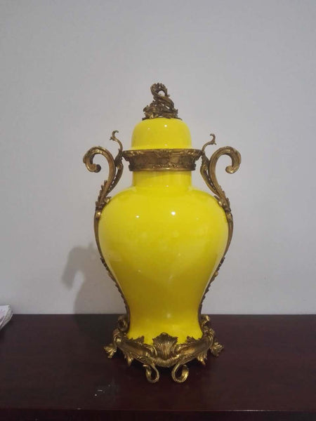 Gilt Bronze Covered Porcelain Vase -  westmenlights