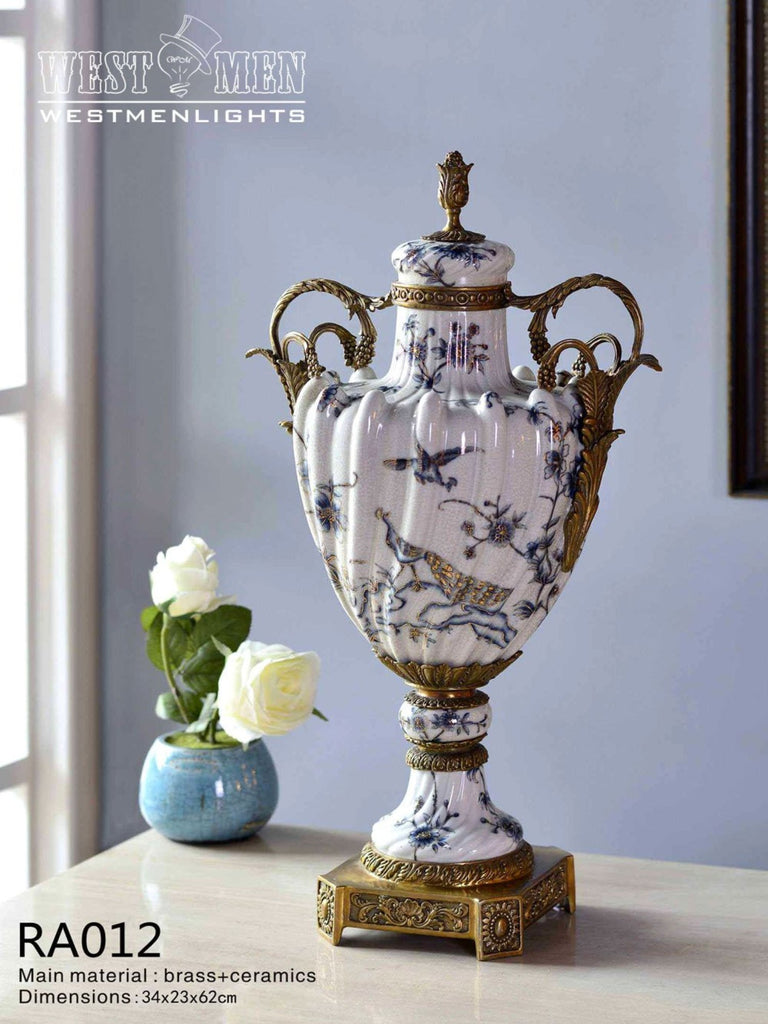 Gilt Bronze Potiche Jar Centerpiece -  westmenlights
