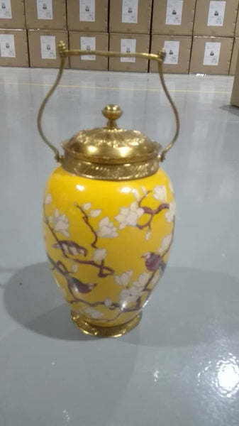 Gilt Bronze Porcelain Covered Pot Centerpiece -  westmenlights